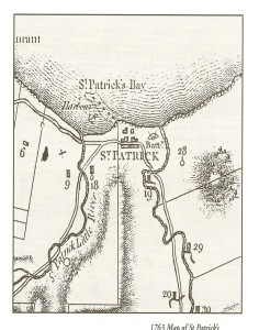 Excerpt from Pinel's 1763 map of Grenada, showing the location of a battery over-looking the St. Patrick's River. It would have also been the general area of the Notre Dame du Bon Secours Catholic Church constructed c. 1718 on the site of the Police Station ruins. The Catholic Church was appropriated by the Protestants for the use as an Anglican Church, but it was destroyed during Fedon's Rebellion in 1795-96. It is most likely the historical site of Leapers' Hill and not the celebrated site behind the current Catholic Church on the opposite hill.