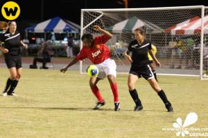 Action in the ladies game between QPR & SGU