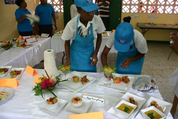 St Joseph Convent students doing final decorations to their cuisine