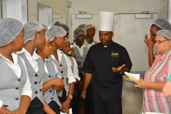 A captive audience - TAMMC students are introduced to Sandals Discovery Dining concept by Executive Chef Glenroy Walker