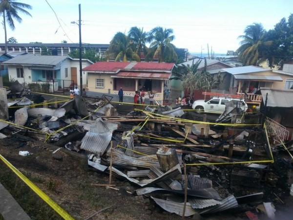 The aftermath of Saturday night's fire at Edwards Streetin Gouyave