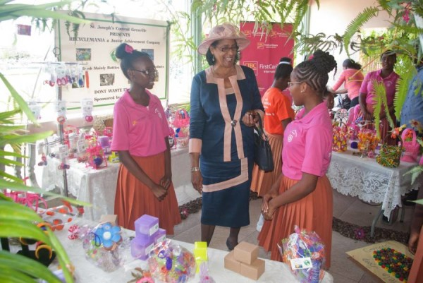 Governor General Dame Cecile La Grenade speaks with students