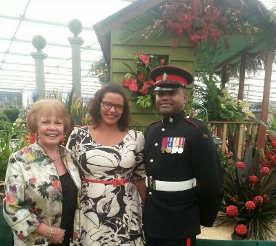Suzanne Gaywood MBE, Minister Alexandra Otway-Noel, and Dr Johnson Beharry VC