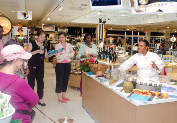 Chef Yvette La Crette giving live cooking demonstration at Bloomingdales NY