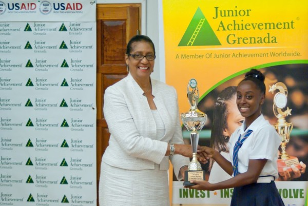 Dame Cecile presents trophy to champion schools