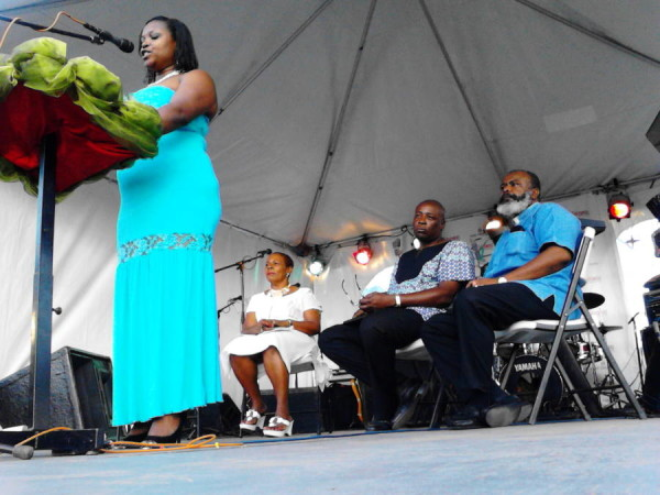 Calypso and Soca Director of the Spicemas Corporation (SMC), Isha Antoine-Andrews speaking at Spicemas launch
