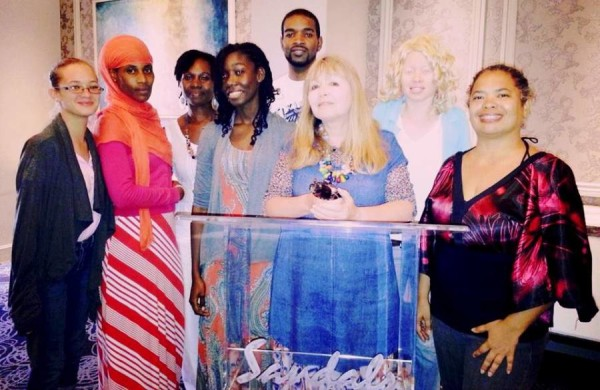 Mary Killen with Grenadian writers at Sandals La Source inspiration exchange