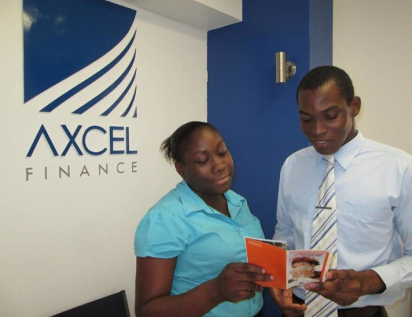 Axcel Finance Intern Emily Bell and Axcel's Client Relationship Officer Nicholas Lazarus