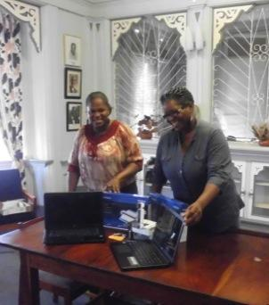 Library Assistant Margaret Roberts and Acting Head, UWI Open Campus Grenada, Claudia Halley