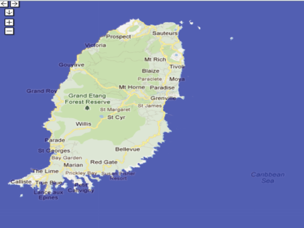Map showing the areas at greatest risk assuming a sea-level rise of 2 meters in Grenada   Photo by Nature Conservancy (2)