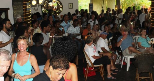 "The audience at La Phare Bleu last night at ""Live on the Beach.' Photo: Jean Renel Pierre Louis"