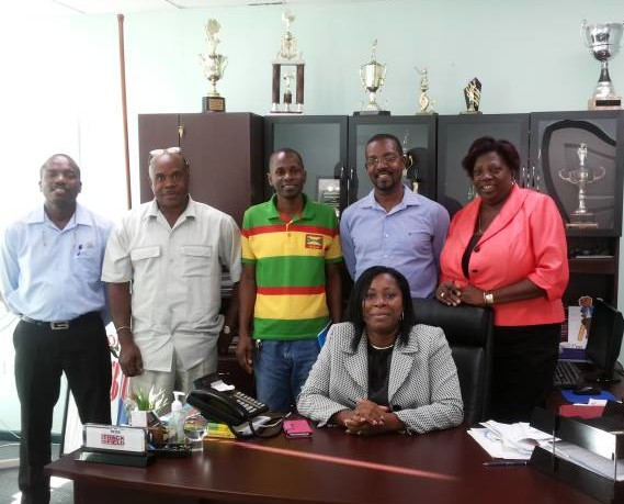 From left to right: Technical Director - Lester Smith, Executive Member and Interim GS Ken Whiteman, Vice President Allan James, President Cheney Joseph, Permanent Secretary Veda Bruno-Victor and (sitting) Minister for Sports Hon. Emmalin Pierre.