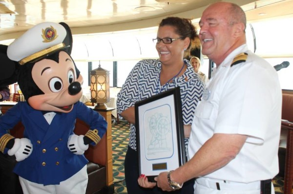 Tourism Minister Otway–Noel with Captain John Barwis of Disney Magic