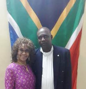 Dr Maureen Modiselle, South Africa's High Commissioner to Grenada, and Acting Foreign Affairs minister Oliver Joseph