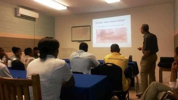 Dr  Forde speaks to Sandals LaSource team on Ebola