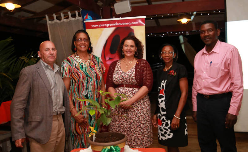 Denzil Phillip Consultant for the Nutmeg Festival; Dame Cécile La Grenade; Alexandra Otway-Noel, Minister for Tourism; Merina Jessamy, Permanent Secretary for Agriculture, Lands & Environment; and Ron O'Neale Agronomist at Ministry of Agriculture