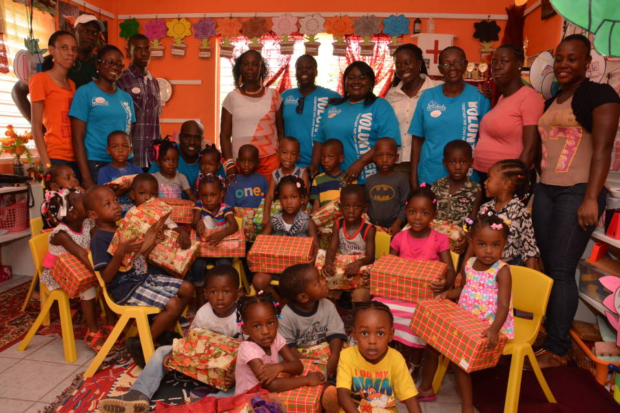 Sandals Foundation Team with students and teachers at Marquis Preprimary