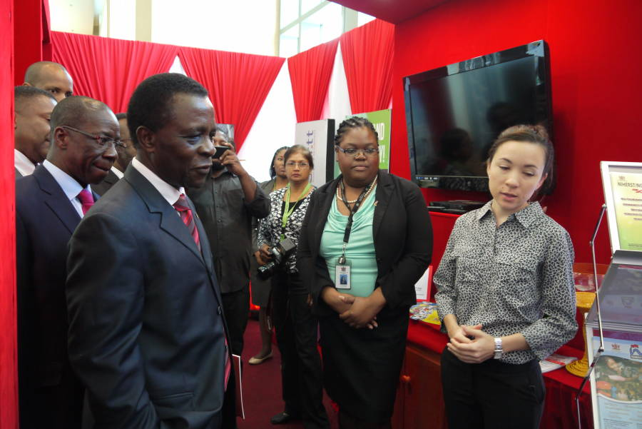 PM Dr Keith Mitchell leading a party of dignitaries visiting an exhibition booth at the opening ceremony of the Caribbean Telecommunications Union 25th Anniversary ICT Week, at Hyatt Regency, Port of Spain, Trinidad, February 2, 2015. Photo courtesy: Caribbean Telecommunications Union.