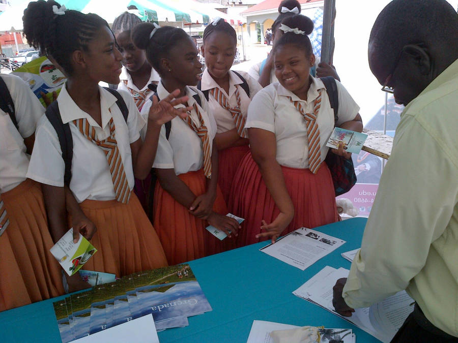 Mr Pascall from the Ministry of Tourism shares career information with students of St Joseph's Convent Grenville