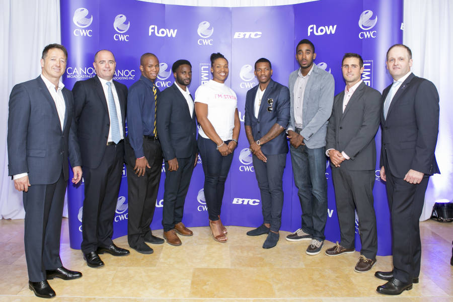 CWC shares a moment with the athletes present at the press conference announcing the award of Broadcast rights in the Caribbean to CWC. From left: John Reid, President, Consumer Group, CWC; Niall Merry SVP, Consumer Commercial and Group CCO; Fallon Forde, Sprinter from Barbados; Ramon Fuller, Track and Field Athlete from the Bahamas; Cleopatra Borel, Shot-putter from Trinidad and Tobago; Demetrius Pinder, Track and Fielder from the Bahamas; Jehue Gordon, from Trinidad and Tobago; Andrew Lewis, Sailing from Trinidad and Tobago and Brian Collins, Managing Director Trinidad and Tobago, Consumer Group, CWC.