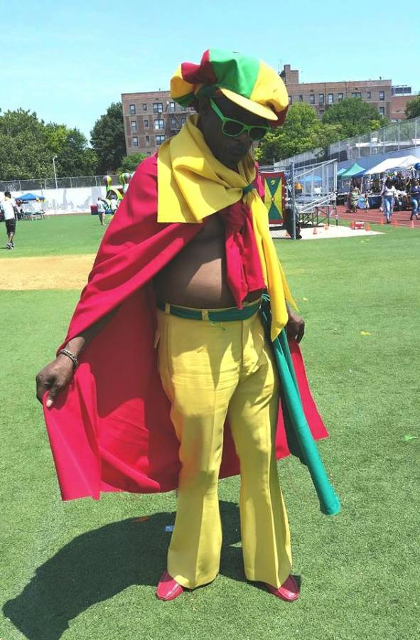 Grenada Day attendee, Palay Thomas, pridefully wearing Grenada's national colours in his original outfit