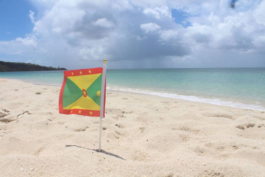 Flag-on-Grand Anse beach