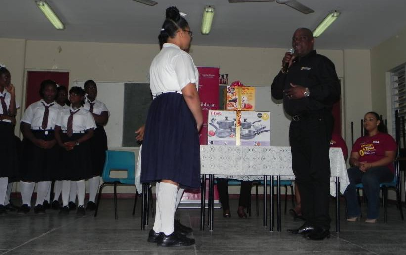 Geoffrey Gabriel Credit Manager Presents Culinary Utensils to Students