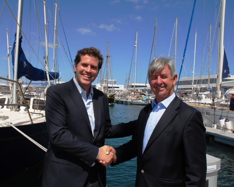 Calero Marinas, committed to hosting the RORC Transatlantic Race for the next three years. José Juan Calero, Managing Director for Calero Marinas and RORC Chief Executive, Eddie Warden Owen