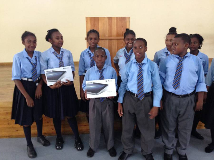 Students at the St John's christian Secondary School presented with their tablets