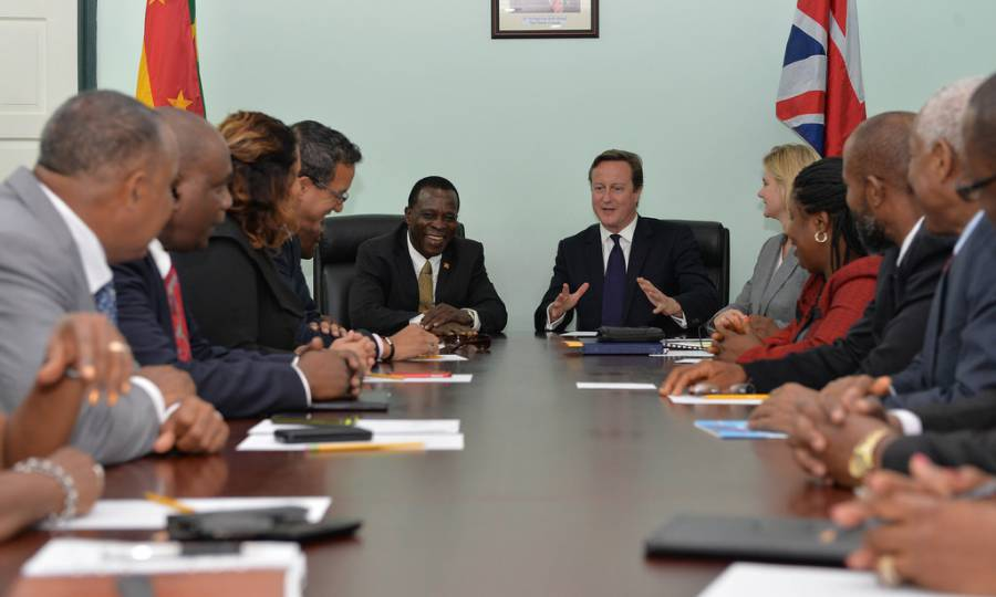 David Cameron holds bilateral with Prime Minister Mitchell. Photo by Georgina Coupe, Crown Copyright