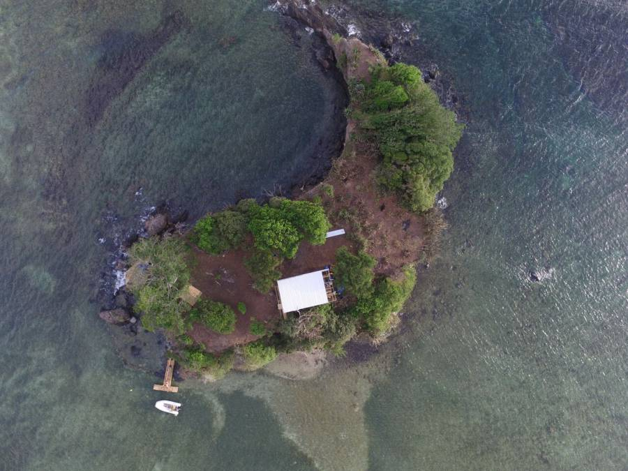 Small island located off Petite Bacaye, St David. 18 October 2015, after destruction.