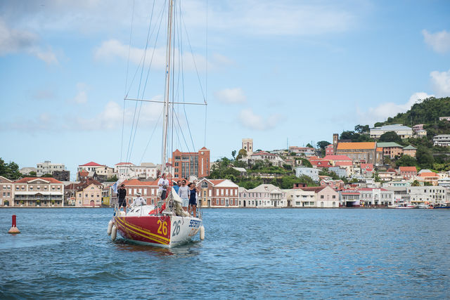 Camper & Nicholsons' Port Louis Marina is the host marina after the finish in Grenada. Marc Lepesqueux's Sensation Class 40 (seen here making her way into St. George's in the 2014 race) will be back to race in the 2015 edition.  © RORC/Arthur Daniel & Orlando K Romain