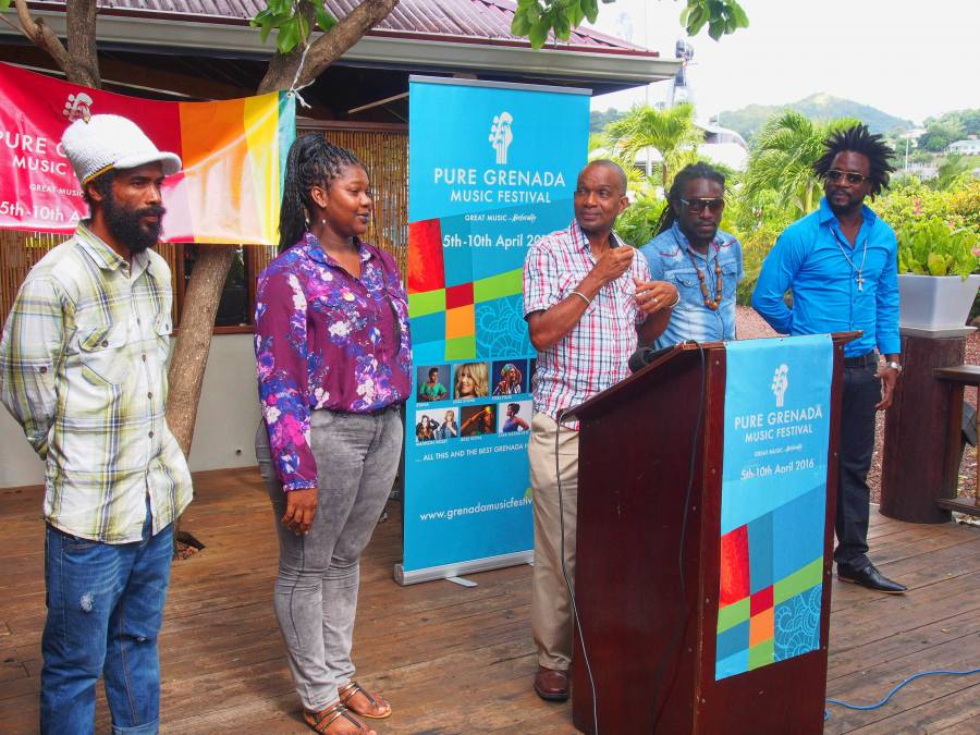 L–R: Rootsman Kelly, Keturah George, Cecil Noel, Kelson Ogiste of Luni Spark and Electrify, and Tallpree