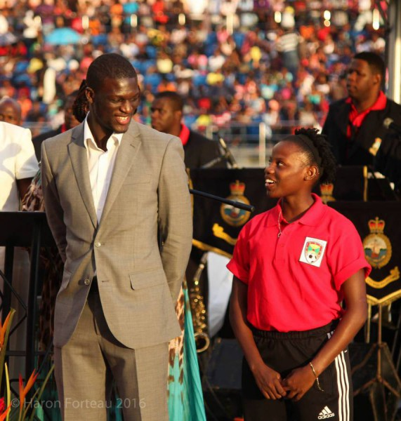 Kirani James at the opening of the Grenada Athletic Stadium
