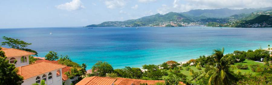 View from Mt Cinnamon Resort, overlooking Grand Anse Beach