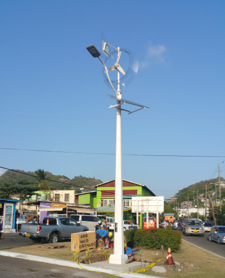 Team Installing Street Light powered by Wind and Solar Technology