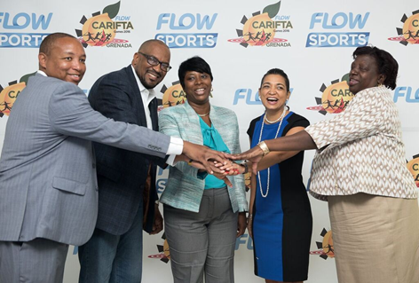 CWC, Government and NACAC Officials at the CARIFTA Games 2016 Launch. (l-r) James Pitt - Country Manager - CWC Grenada; Jean-Pierre Alain - Treasurer , NACAC; Emmalin Pierre - Minister for Youth, Sports & Religious Affairs; Denise Williams - SVP Communications - CWC; Veda Bruno-Victor - Chairwoman, Local Organising Committee Flow CARIFTA Games