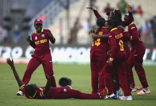 KOLKATA, WEST BENGAL - APRIL 03:  West Indies celebrate victory during the Women's ICC World Twenty20 India 2016 Final match between Australia and West Indies at Eden Gardens on April 3, 2016 in Kolkata, India.  (Photo by Ryan Pierse/Getty Images)