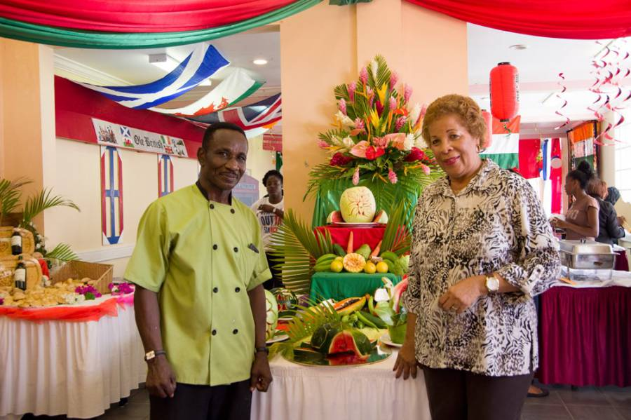 Carl Howell, Culinary Lecturer, and Lauren Grey (SAMS) showcase fruit carving display