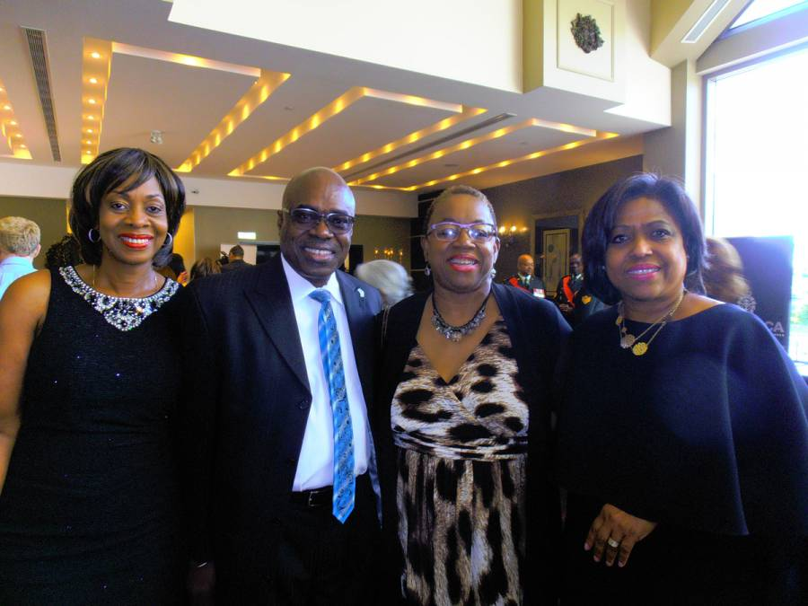 "In photo (l-r) are Dawne Francois of the Grenada Tourism Authority office in Toronto, Consul General Derrick James and ""Accomplished Black women'' Gemma Raeburn-Baynes and Jenny Gumbs"