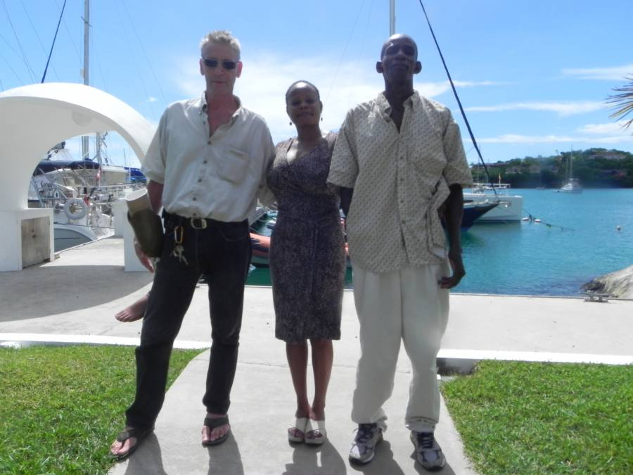 Gylfi Hilmisson (L), Raquel Matika-Turner, Manager of Prickly Bay Marina (M) and Fabian Greenidge (R )