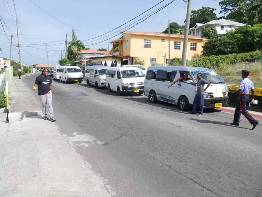 Buses parked on Grand Anse Route